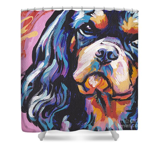 Black And Tan Cav Shower Curtain by Lea