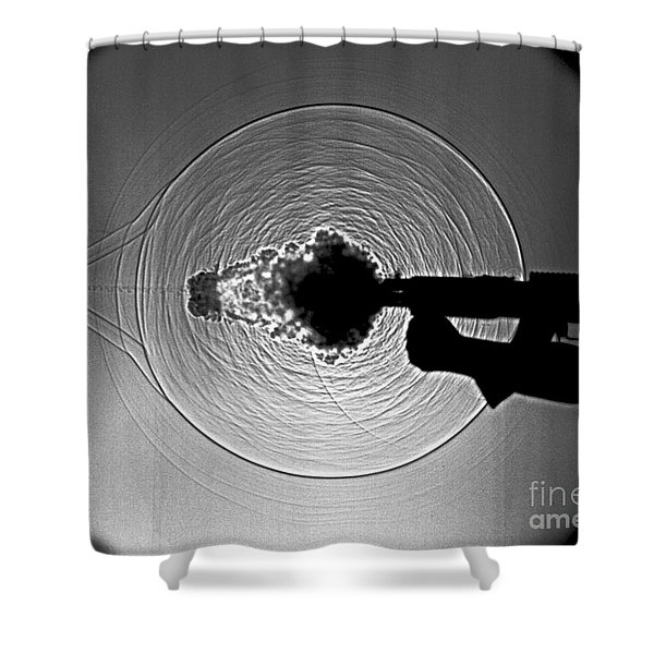 Black and White Gun Firing Shadowgram Shower Curtain by Garry S Settles and Photo Researchers