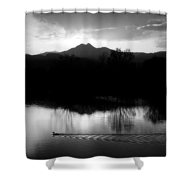 Black And White Lake Sunset Shower Curtain by James BO  Insogna
