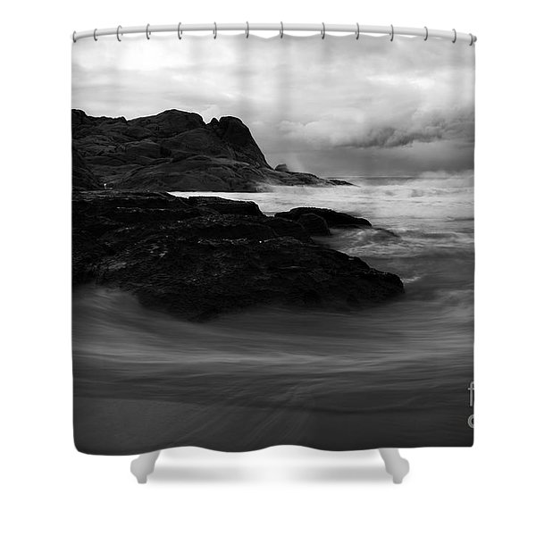 Black Rock  Swirl Shower Curtain by Mike  Dawson