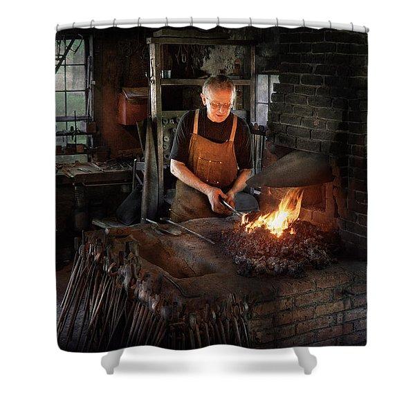 Blacksmith - Blacksmiths Like It Hot Shower Curtain by Mike Savad