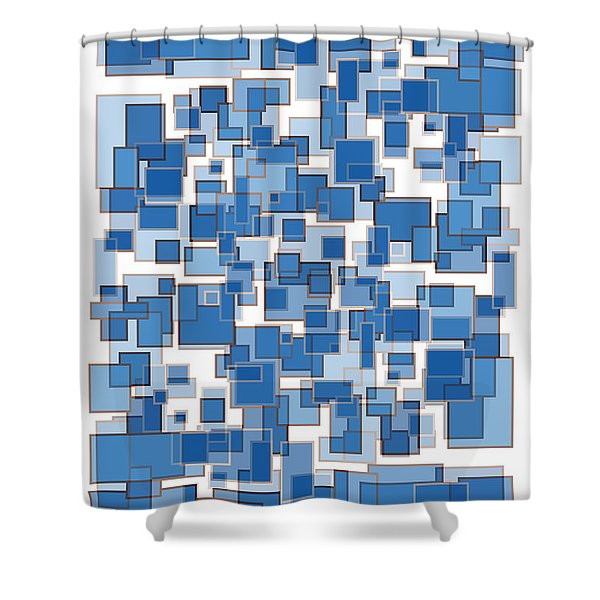 Blue Abstract Patches Shower Curtain by Frank Tschakert