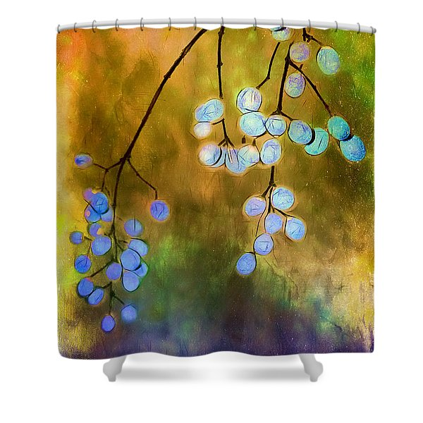 Blue Autumn Berries Shower Curtain by Judi Bagwell