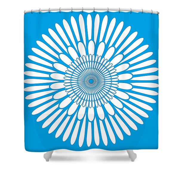 Shower Curtains - Blue Floral Ornament Shower Curtain by Frank Tschakert