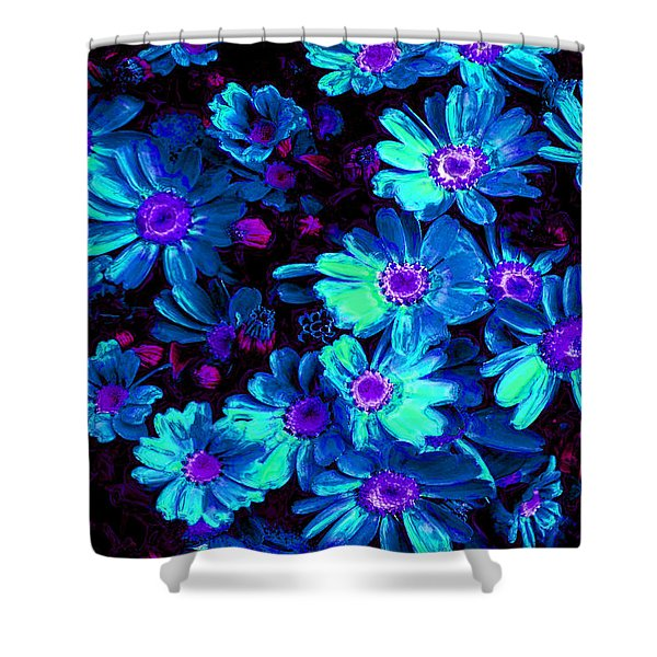 Blue Flower Arrangement Shower Curtain by Phill Petrovic
