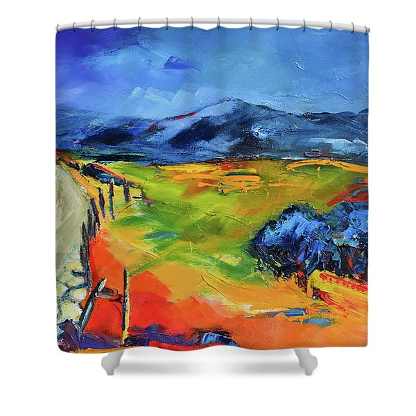 Blue Hills Shower Curtain by Elise Palmigiani