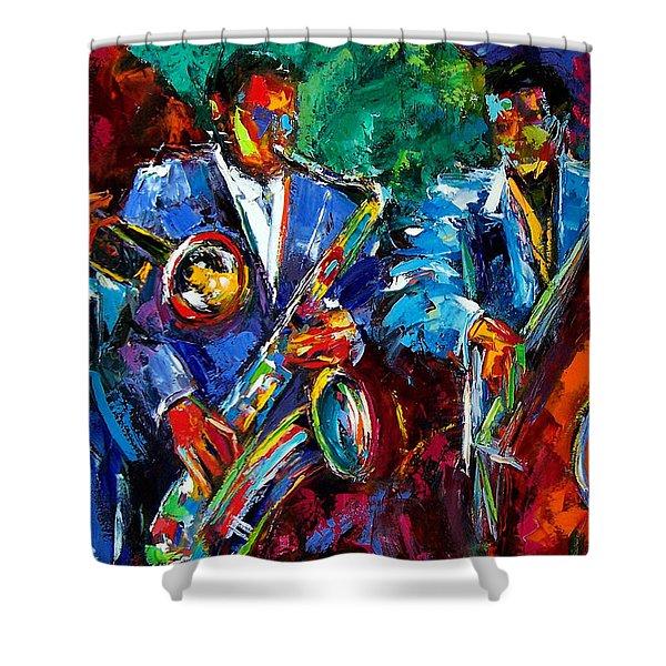 Blue Jazz Shower Curtain by Debra Hurd