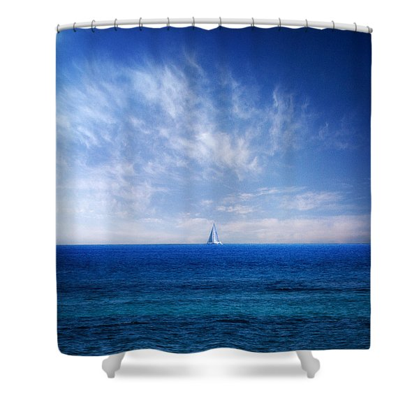 blue mediterranean Shower Curtain by Stylianos Kleanthous
