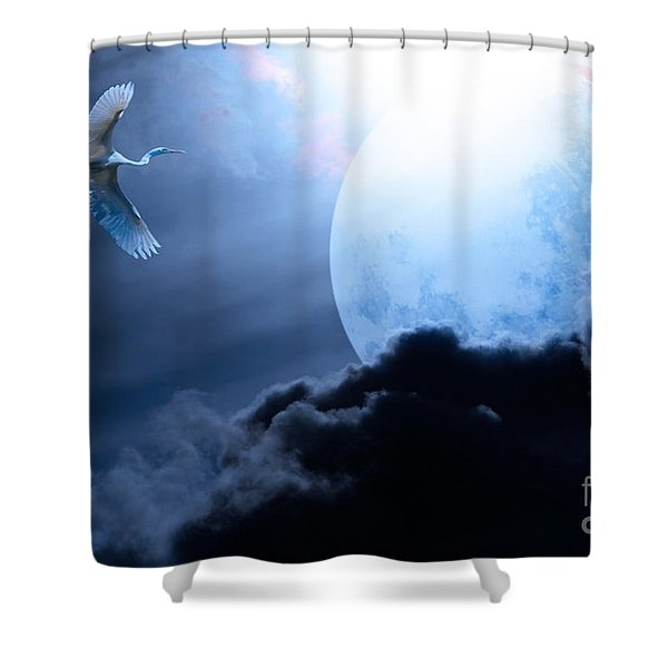 Blue Moon - 7D12372 Shower Curtain by Wingsdomain Art and Photography