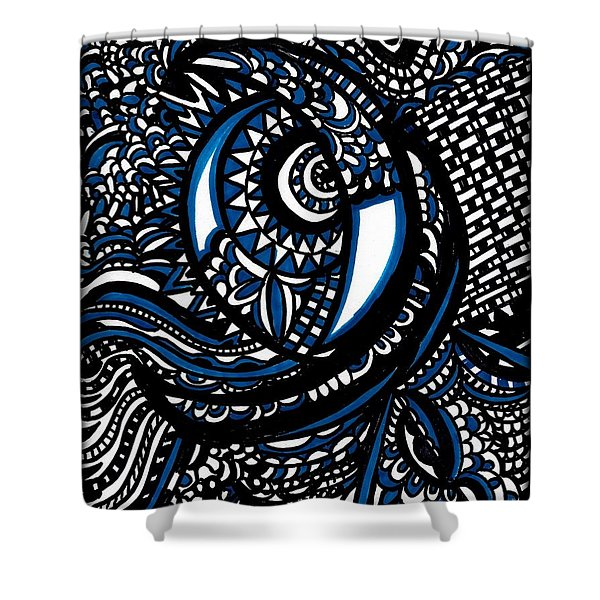 Blue Moon Shower Curtain by WBK