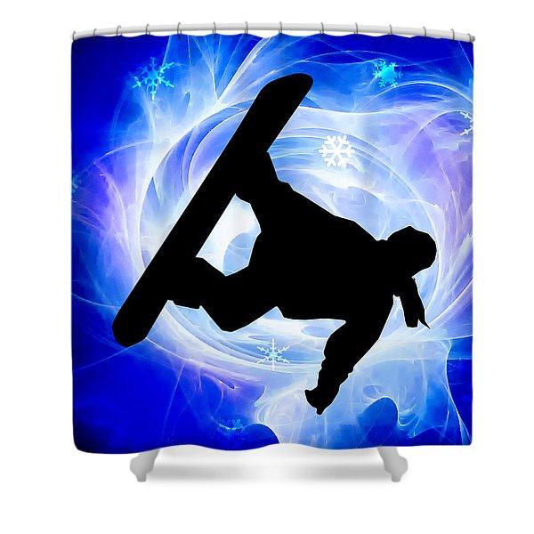 Blue Swirl Snowstorm Shower Curtain by Elaine Plesser