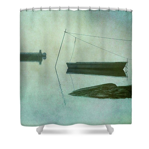 Boat and Dock Taunton River No. 2 Shower Curtain by Dave Gordon