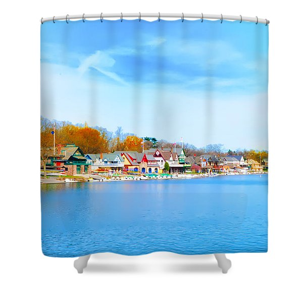 Boat House Row from West River Drive Shower Curtain by Bill Cannon