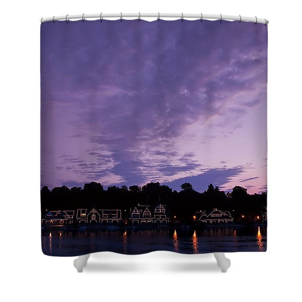Boathouse Row In Twilight Shower Curtain by Bill Cannon