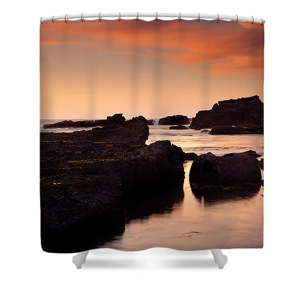 Boiler Bay Sunset Shower Curtain by Mike  Dawson
