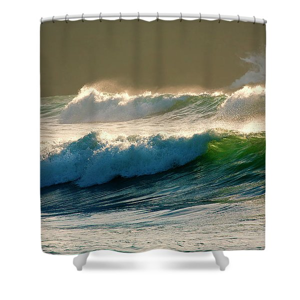 Boiler Bay Waves Rolling Shower Curtain by Mike  Dawson