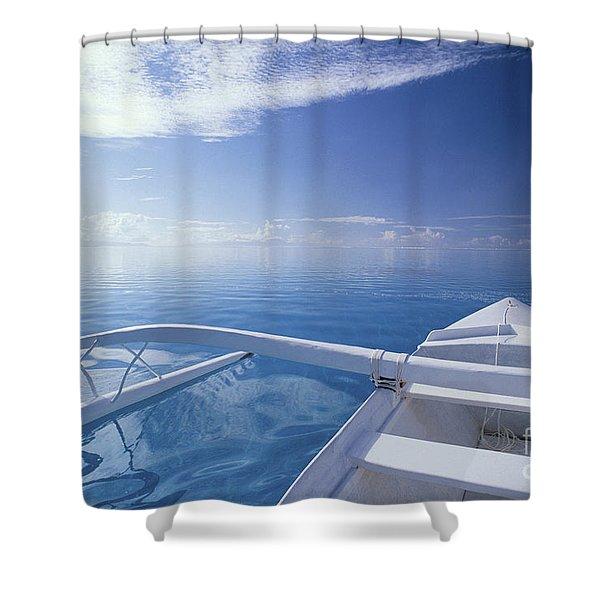 Bora Bora, Outrigger Shower Curtain by Joe Carini - Printscapes
