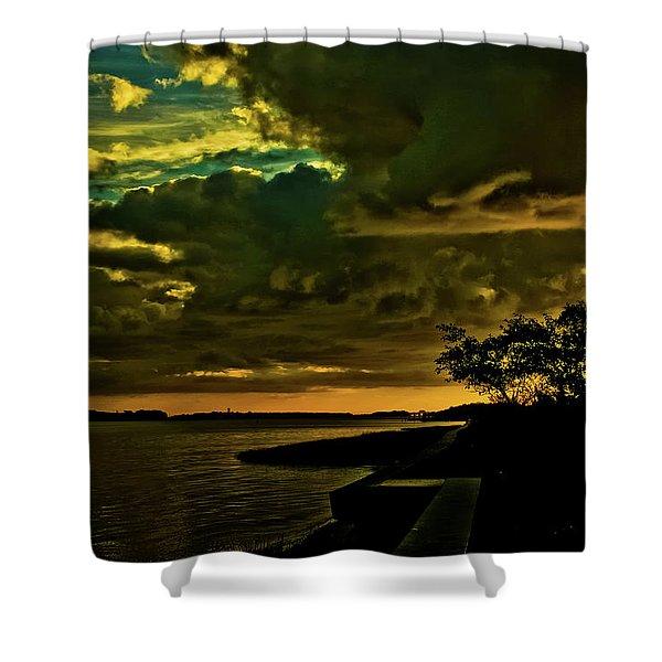 Boston Bay Sunrise Shower Curtain by Albert Seger
