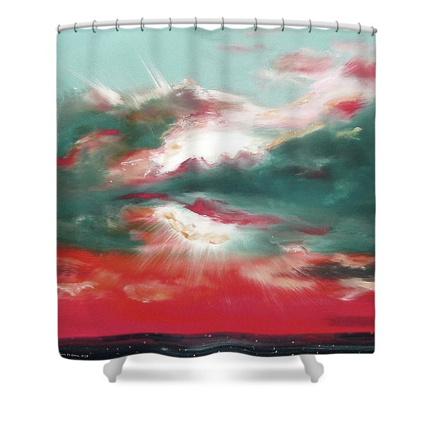 Bound of Glory 2 - Square Sunset Painting Shower Curtain by Gina De Gorna