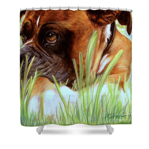 Boxer  Shower Curtain by Patricia L Davidson