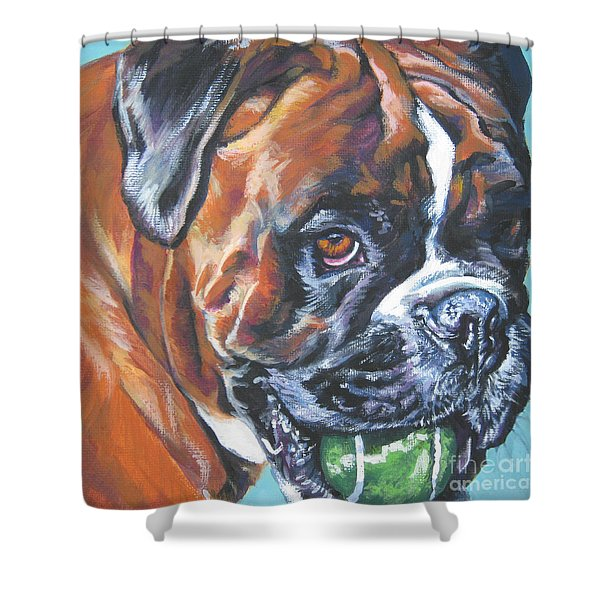 boxer tennis Shower Curtain by Lee Ann Shepard