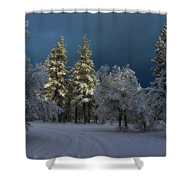 Break In The Storm Shower Curtain by James Eddy