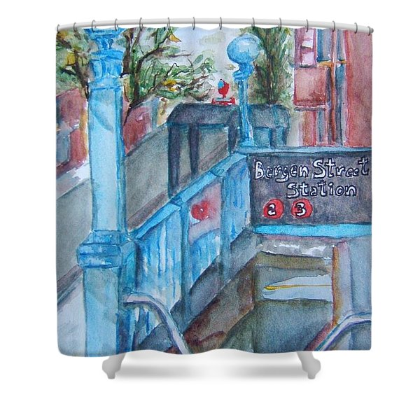 Brooklyn Subway Stop Shower Curtain by Elaine Duras