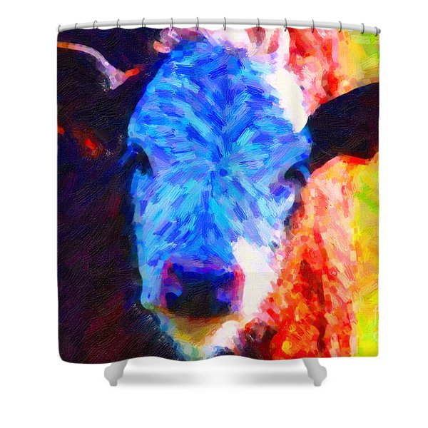 Brown Cow . Painterly Shower Curtain by Wingsdomain Art and Photography