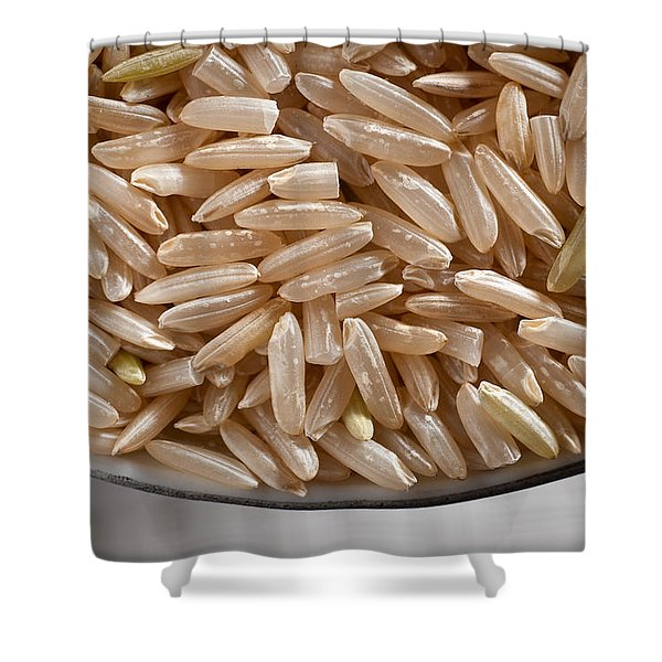 Brown Rice in Bowl Shower Curtain by Steve Gadomski