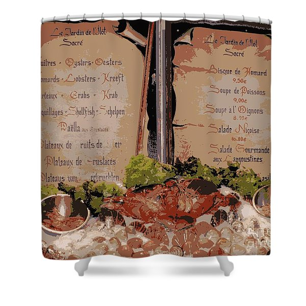 Brussels Menu - Digital Shower Curtain by Carol Groenen