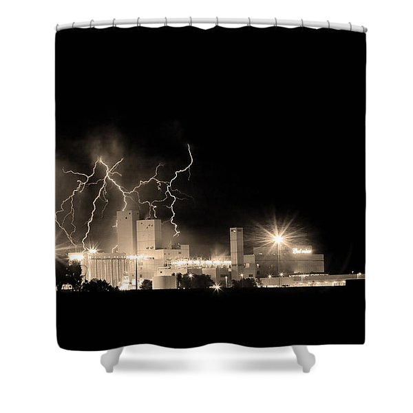 Budweiser Lightning Thunderstorm Moving Out BW Sepia Shower Curtain by James BO  Insogna