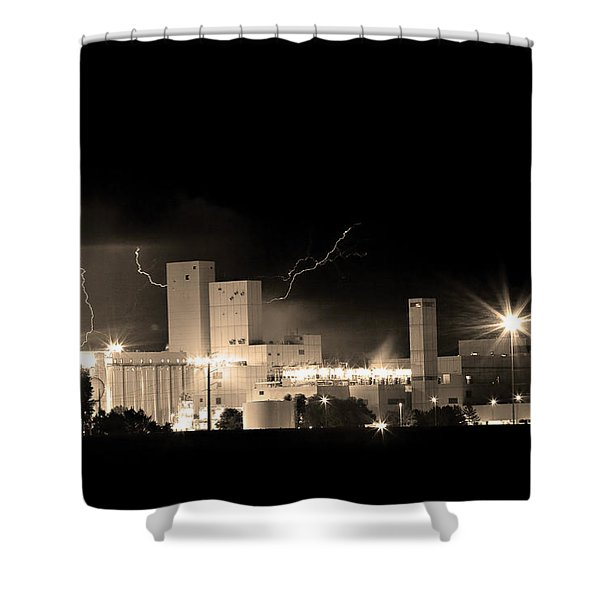 Budwesier Brewery Lightning Thunderstorm Image 3918  BW Sepia Im Shower Curtain by James BO  Insogna