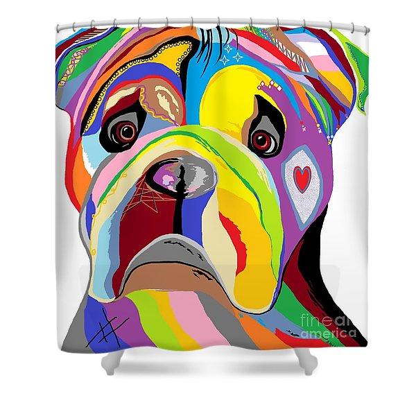 Bulldog Shower Curtain by Eloise Schneider