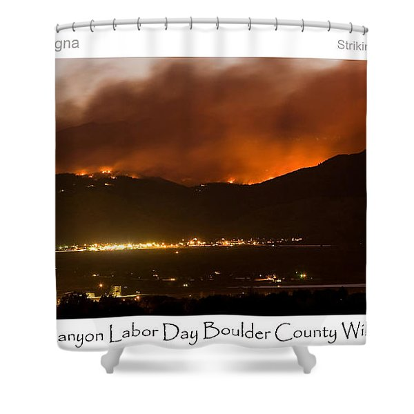 Burning Foothills Above Boulder Fourmile Wildfire Panorama Poster Shower Curtain by James BO  Insogna