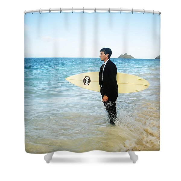 Business man at the beach with surfboard Shower Curtain by Brandon Tabiolo - Printscapes
