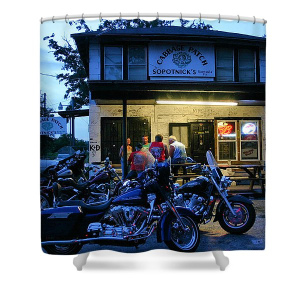 Cabbage Patch Bikers Bar Shower Curtain by Kristin Elmquist
