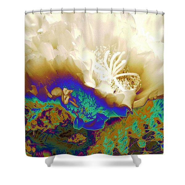 Cactus Moon Flower Shower Curtain by Andrea Lazar