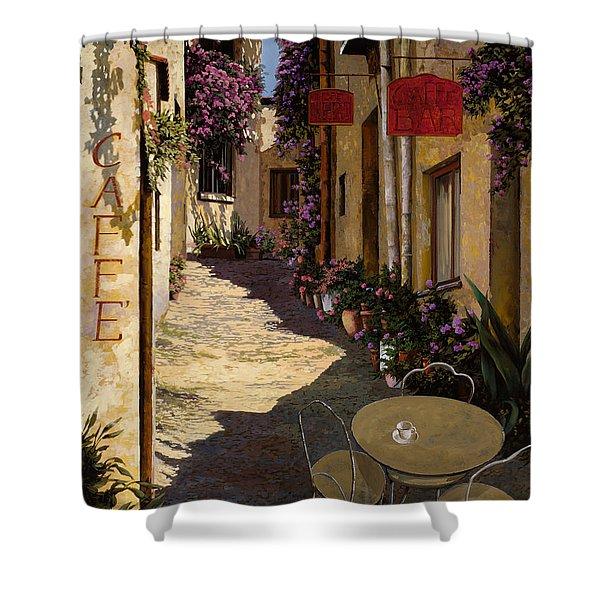 cafe piccolo Shower Curtain by Guido Borelli