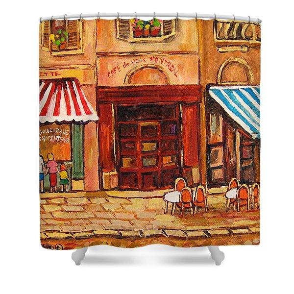 Cafe Vieux Montreal Shower Curtain by CAROLE SPANDAU