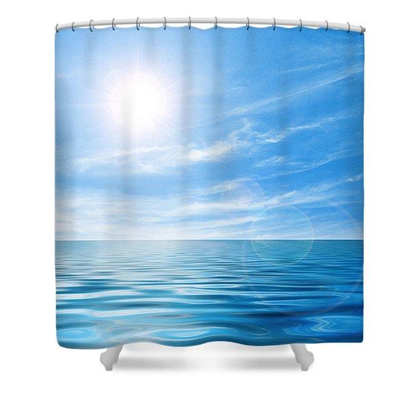Calm seascape Shower Curtain by Carlos Caetano