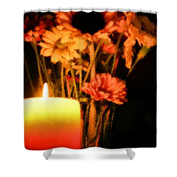 Candle Lit Shower Curtain by Kristin Elmquist
