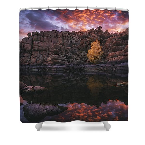 Candle Lit Lake Shower Curtain by Peter Coskun