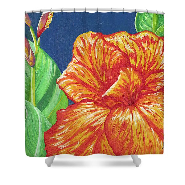 Canna Flower Shower Curtain by Adam Johnson