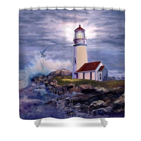 Cape Blanco Oregon Lighthouse on Rocky Shores Shower Curtain by Gina Femrite