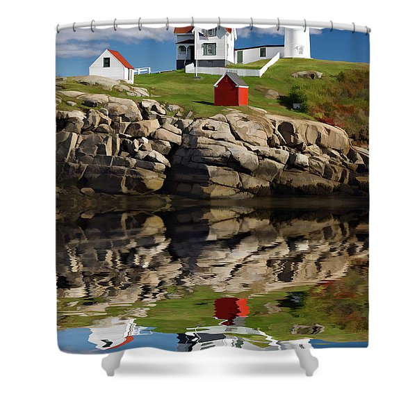 Cape Neddick Reflection - D003756a Shower Curtain by Daniel Dempster