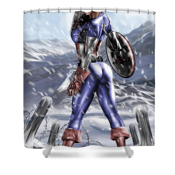Captain America Shower Curtain by Pete Tapang