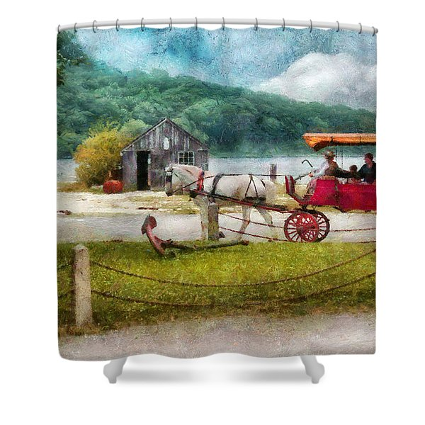 Car - Wagon - Traveling in style Shower Curtain by Mike Savad