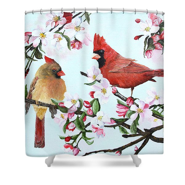 Cardinals and Apple Blossoms Shower Curtain by Johanna Lerwick