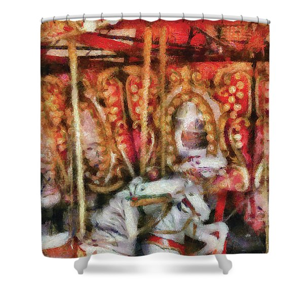 Carnival - The Carousel - Painted Shower Curtain by Mike Savad