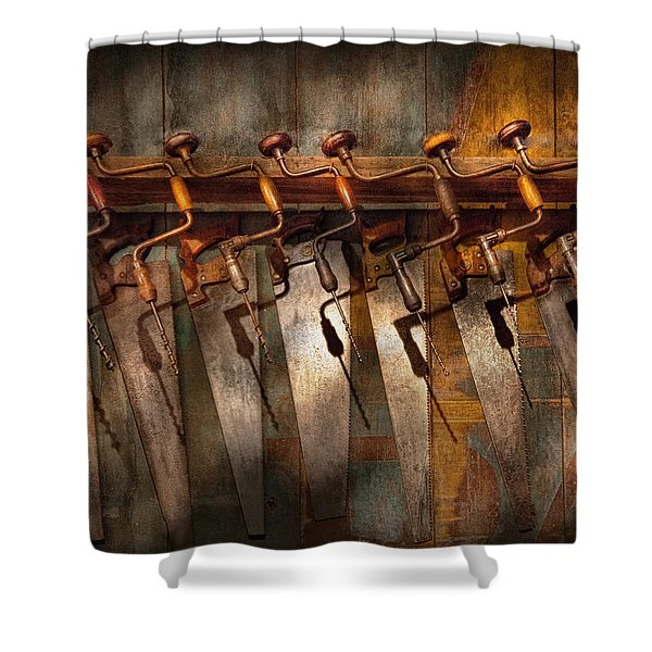 Carpenter  - Saws and Braces  Shower Curtain by Mike Savad